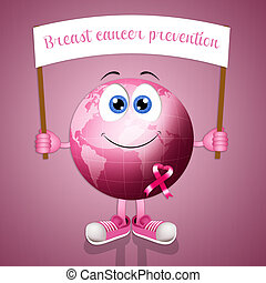 Pink earth with pink awareness ribbon - illustration of Pink...