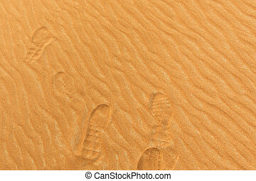 Photo of footprints on the sand of a desert in the United Arab E