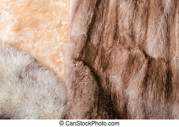 Sheepskin, Mink and Fox Furs - Blond sheepskin, blue fox and...