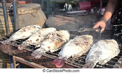 street food, grilled fish - street food in market place