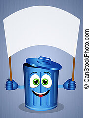 Funny blue garbage bin for recycling - illustration of Funny...