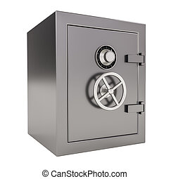 Bank safe - 3d illustration of closed Bank safe on white