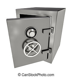 Bank safe - 3d illustration of opened empty bank safe on...