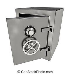 Bank safe - 3d illustration of opened empty bank safe on...