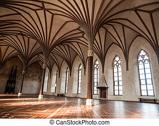 Gothich arches in castle hall - Gothich arches and windows...