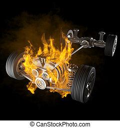 エンジン, 自動車, 車輪, シャーシー, 燃焼