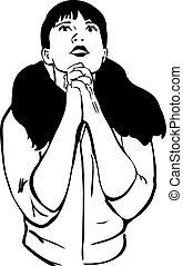 sketch of a girl praying