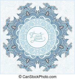 round ornamental frame, blue colour circle floral background