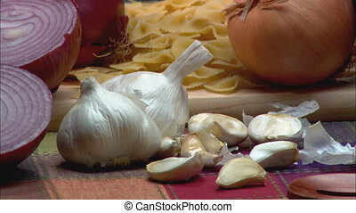 Onions and Garlic CU - CU of variety of onions and garlic...