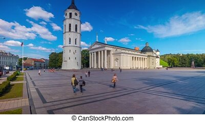 Cathedral Square in Vilnius, Lithuania, panoramic time-lapse