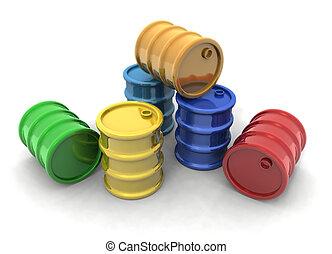 barrels - 3D rendering of some colored barrels