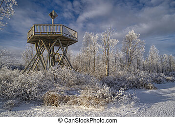 Wooden look-out - Amazing view of a frozen wooden look-out...
