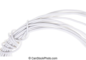 White electrical wire isolated on white background