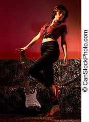 Pin Up with Guitar - Sexy Pin Up with Electric Guitar on...