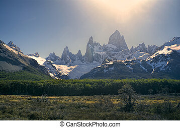 Los Glaciares National Park - Chilean mountains bathing in...