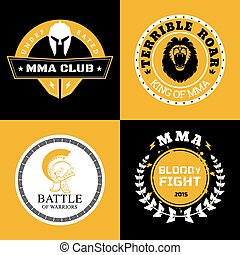 MMA Battle Logos or Badges Designs - Cool Mixed Martial Arts...