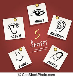 Set of senses icons on sticky notes - Set of senses icons on...