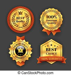 Gold Guaranteed Labels - Assorted Gold Guaranteed Business...