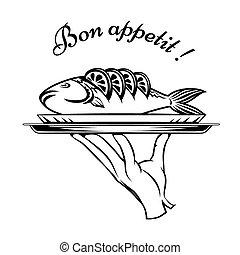Bon Appetit fish design element for a restaurant menu with...