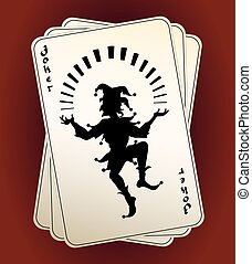 Joker silhouette on playing cards - Black vector Joker...
