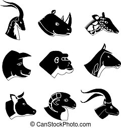 Animal heads silhouette icons in black including a buck...