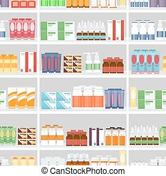 Various Pills and Drugs on Shelves - Various Pills and Drugs...