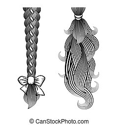 Loose hair in a plait and ponytail - Black and white vector...
