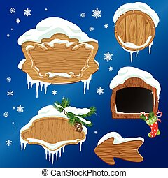Set of Wooden frames, design elements for  Merry Christmas and H
