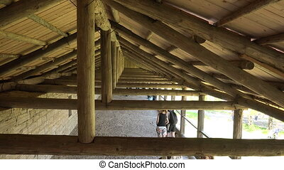 The wooden Ceiling of the castle tower. Old Ladoga.