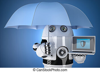 3d Robot with umbrella and laptop. Data protection concept. Isolated. Contains clipping path