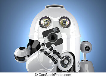 Robot with a squared camera. Contains clipping path
