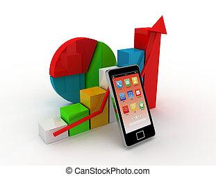 móvil, finanzas, y, Estadística, concepto,