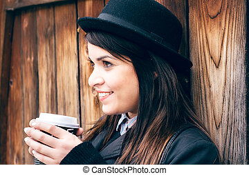 Coffee break - Beauty female have smile on her face and...