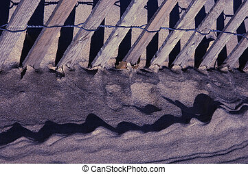 Sand and Fence Abstract - Dunes are an act of nature Fences...