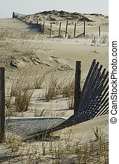 Sand Dunes and Fence - Dunes are an act of nature. Fences...