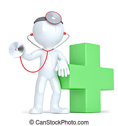 3d Doctor with a stethoscope in hands. Isolated. Contains clipping path