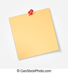 Note paper,sticker  with red pin isolated