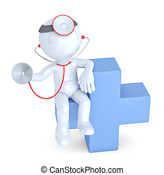 Doctor with stethoscope sitting on blue cross Isolated...