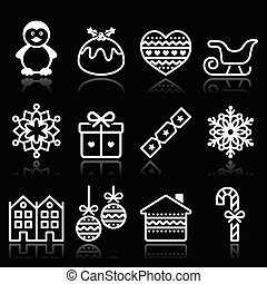 Christmas, winter white icons - Vector black icons set for...