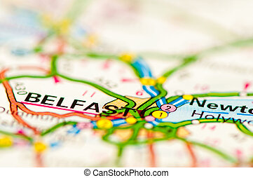 Close-up on Belfast city on map, travel destination concept