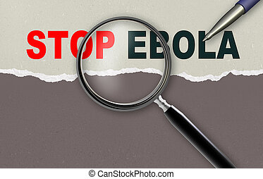 STOP EBOLA - word STOP EBOLA and magnifying glass with...