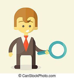Businessman with a magnifying glass looking for the answer to your question