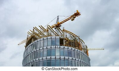 Construction of modern office buildings, time-lapse