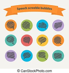 Vector Speech black doodle scrabble bubblesVector