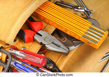 Hand tool set - Close-up of a hand tool set with...