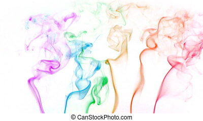 color smoke 01 - Colored fluid slow motion on white...