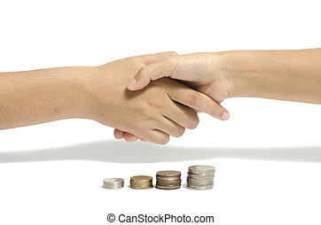 shake hand and coin - two people shake hand and coin...