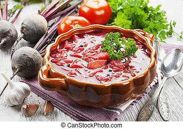 Borsh Russian traditional dish - Soup with red beets Russian...