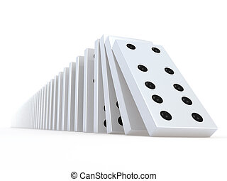 3d Falling white dominoes - 3d render of a row of falling...
