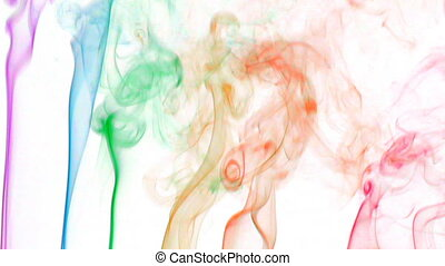 color smoke 02 - Colored fluid slow motion on white...